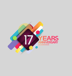 17 years anniversary colorful design with circle vector