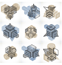 abstract constructions set dimensional designs vector image
