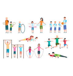 Active family people kids doing fitness vector