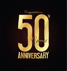 anniversary golden sign 50 years vector image