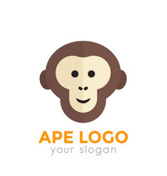 Ape monkey logo element chimp icon on white vector