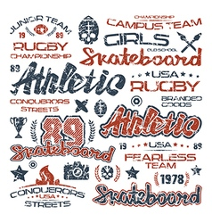 Athletic elements with shabby texture vector image
