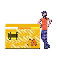 beard man with bank credit card payment vector image