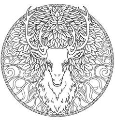 beautiful hand drawn tribal style deer head over vector image