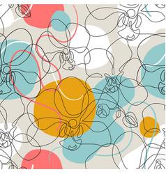 beautiful orchids line art seamless pattern vector image