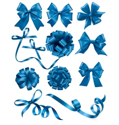 Big set of blue gift bows with ribbons vector image
