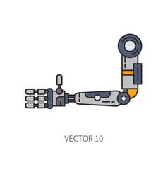 Bionic robot arm prosthesis color line icon vector