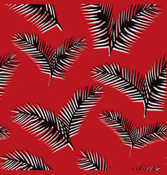 black white leaves seamless pattern red background vector image