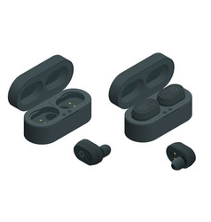Black wireless earphones and case isolated vector