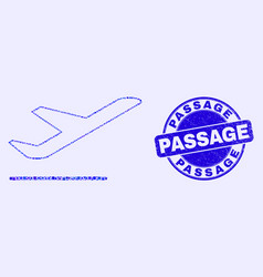 Blue grunge passage stamp seal and airplane vector
