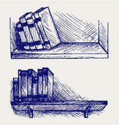 Books on the shelf vector image