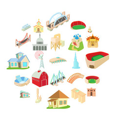 building house icons set cartoon style vector image