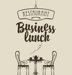 Business lunch menu with table for two vector