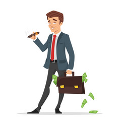 Businessman holding a case full of money vector