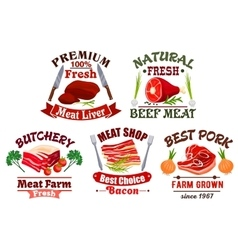 Butchery shop emblems and fresh meat icons vector