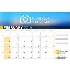 calendar for february 2019 design print template vector image