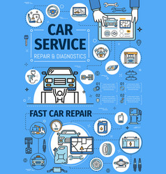 Car diagnostic and repair service center thin line vector