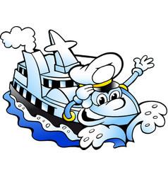 cartoon of a happy cruise ship captain mascot vector image