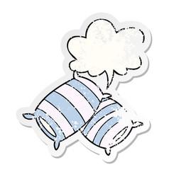 Cartoon pillows and speech bubble distressed vector