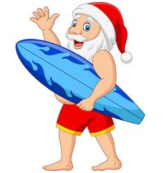 cartoon santa claus holding a surfboard waving han vector image