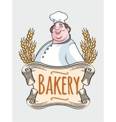 Chef baker label vector
