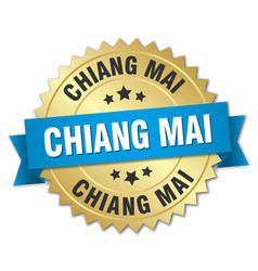 Chiang mai round golden badge with blue ribbon vector