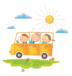 children go to school by bus vector image