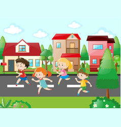 children running in the neighborhood vector image
