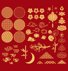 chinese new year elements festive asian ornaments vector image
