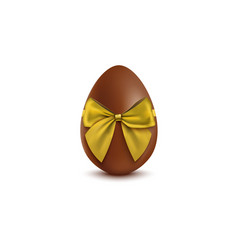 chocolate egg with golden bow mockup realistic vector image