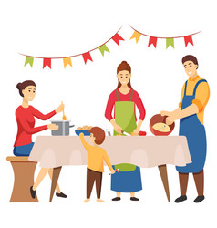 christmas holidays preparation family cooking vector image