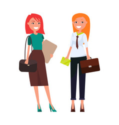 Colleagues elegant businesswomen redhead girls vector
