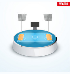 Concept of miniature round tabletop handball arena vector