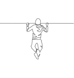 continuous line man pulls himself up on the vector image
