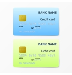 Credit and Debit card template on white background vector image