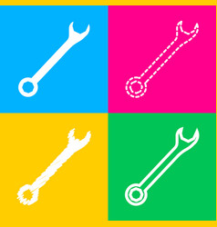 crossed wrenches sign four styles of icon on four vector image