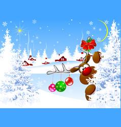 cute deer on christmas eve vector image