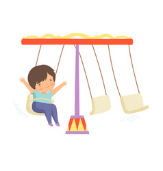 cute happy boy swinging at carousel in amusement vector image