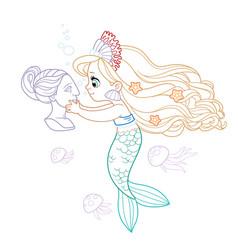 Cute little mermaid girl in coral tiara carefully vector