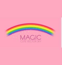 cute magic rainbow on pink background fantazy vector image