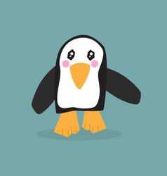 cute single little walking penguin icon on teal vector image