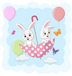 cute two bunnies flying with an umbrella vector image
