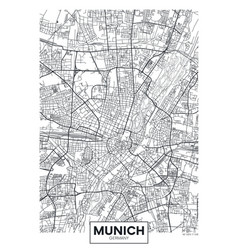 Detailed poster city map munich vector