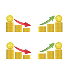 dollar and euro coins with green and red arrows vector image