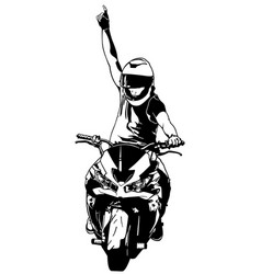 Drawing a biker on a motorcycle vector
