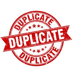 duplicate round grunge ribbon stamp vector image