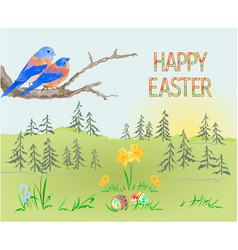 easter spring landscape forest and birds vector image