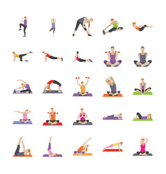 fitness and exercises flat icons vector image