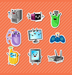 funny computer gadgets cartoon characters set vector image