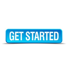 get started blue 3d realistic square isolated vector image